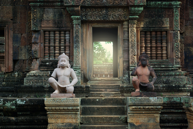 Ancient statues in Banteay Srei temple, Siem Reap complex, Cambo