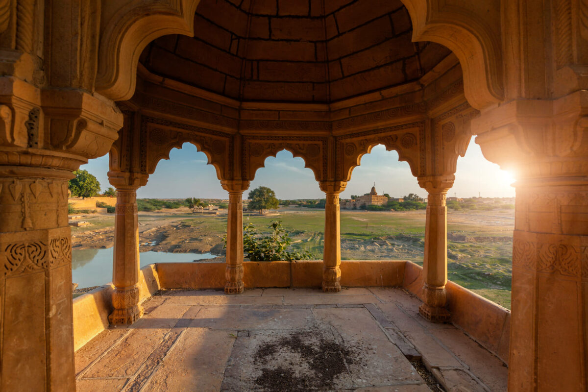 Decorated pavillion at Amar Sagar lake
